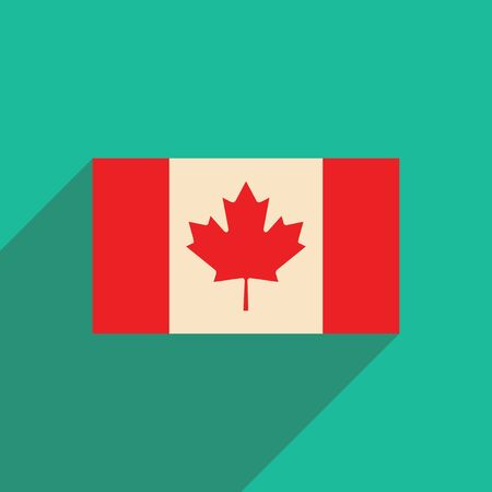 canadian state flag: flat icon with long shadow flag of Canada Illustration