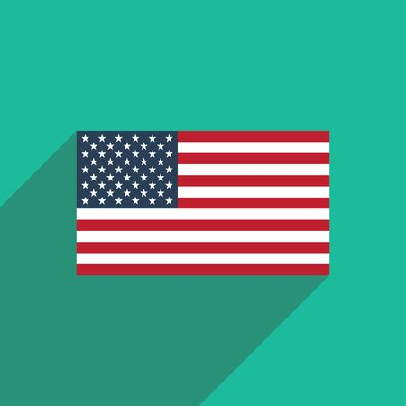 federal election: flat icon with long shadow American flag