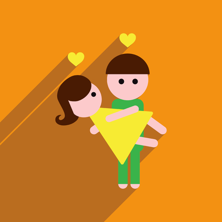 paramour: Flat web icon with long shadow pair of lovers