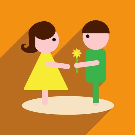 Platte web icoon met lange schaduw man vrouw bloemen Vector Illustratie