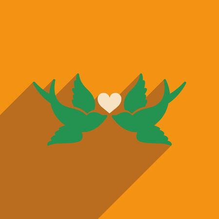 inseparable: Flat web icon with long shadow birds heart Illustration