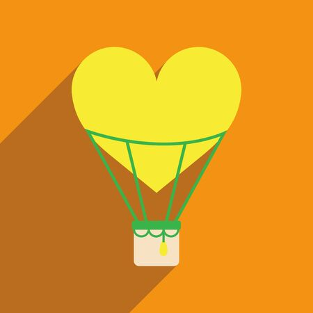 hot wife: Flat web icon with long shadow air balloon heart
