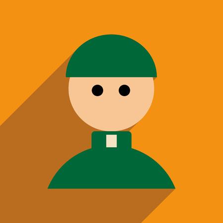sotana: icono de banda plana con una larga sombra Sacerdote Vectores