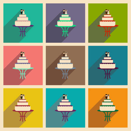 topper: Set of flat web icons with long shadow wedding cake Illustration