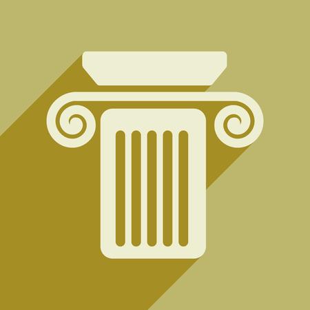 doric: Flat web icon with long shadow column Illustration