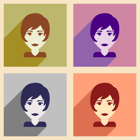 make up model: Set of flat web icons with long shadow womens haircut Illustration
