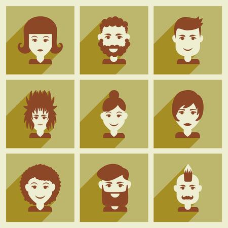 silueta masculina: Conjunto de iconos de la web planas con corte de pelo larga sombra