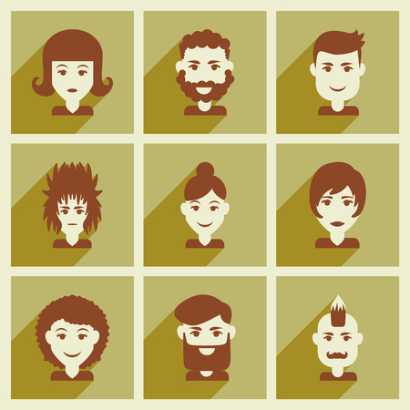 male silhouette: Set of flat web icons with long shadow haircut Illustration