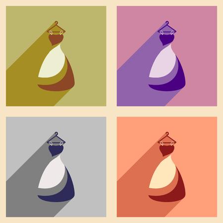 transparent dress: Set of flat web icons with long shadow Wedding Dress Illustration