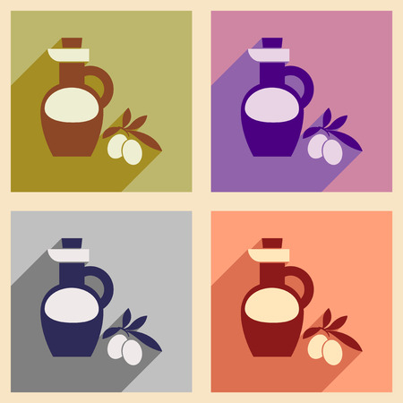 cruet: Set of flat web icons with long shadow olive oil