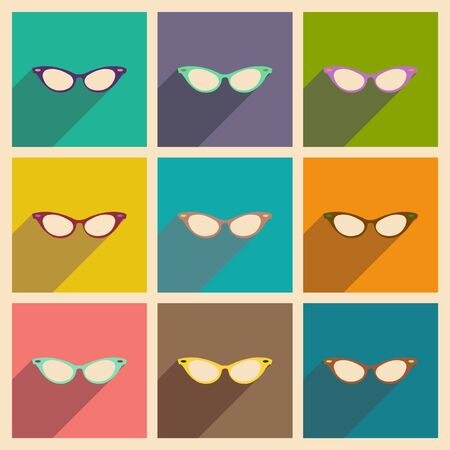 corrective: Modern flat icons vector collection with shadow glasses