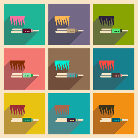 straightener: Modern flat icons vector collection with shadow hair straightener Illustration