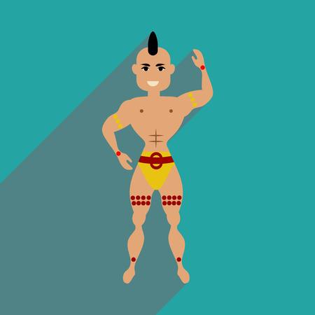 bailarin hombre: icono de banda plana con el hombre bailarina larga sombra Vectores
