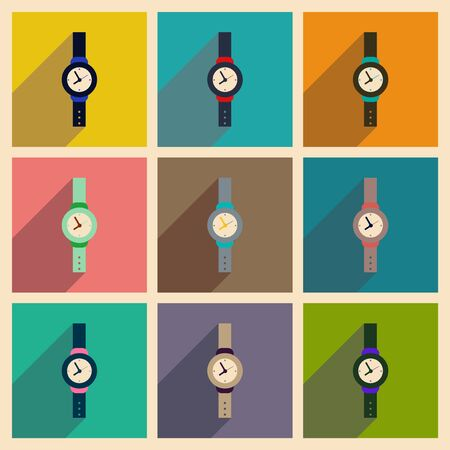 chrome man: Modern flat icons vector collection with shadow Men Watch