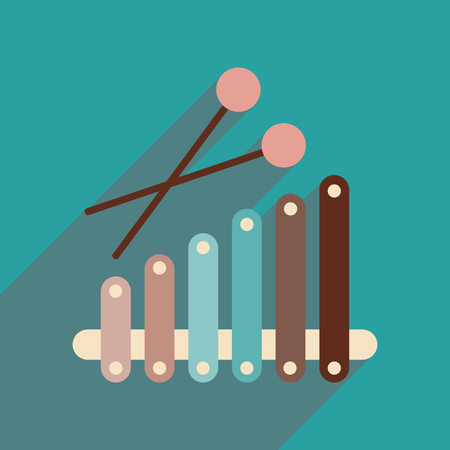 tuned: Flat web icon with long shadow instrument xylophone