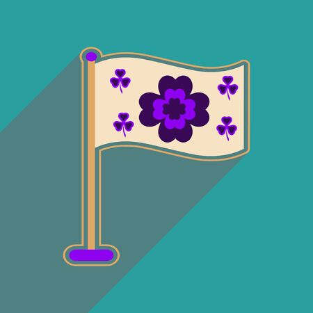 three leafed: Flat web icon with long shadow flag clover Illustration