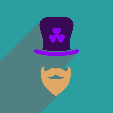 clover face: Flat web icon with long shadow Irish hat beard