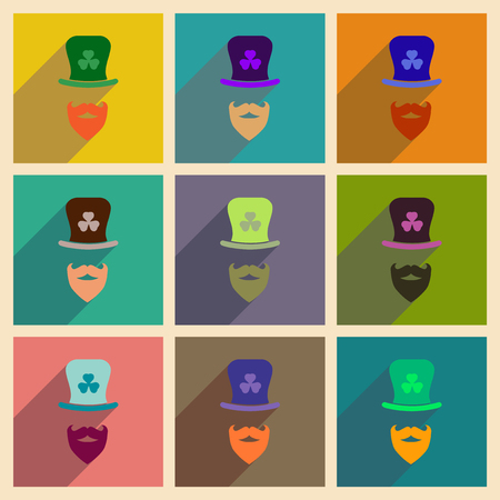 clover face: Concept of flat icons with long shadow Irish hat beard