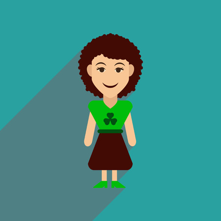 irish woman: Flat web icon with long shadow Irish woman Illustration