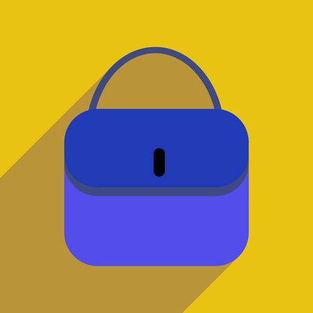 clutch: Flat icon with long shadow clutch bag Illustration