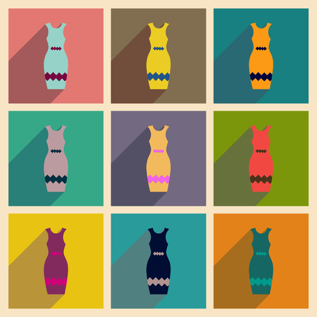 40s: Concept of flat icons with long shadow  elegant dress Illustration