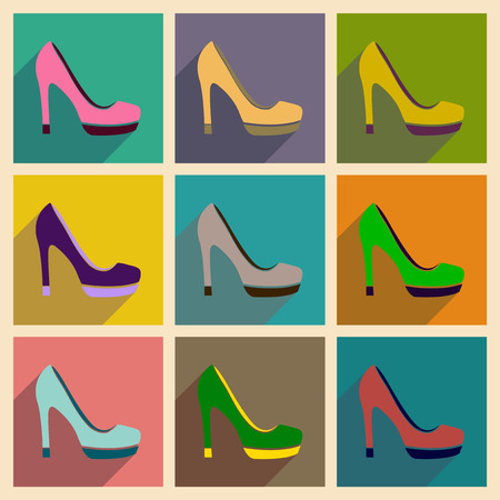 heelpiece: Concept of flat icons with long shadow  stiletto heels