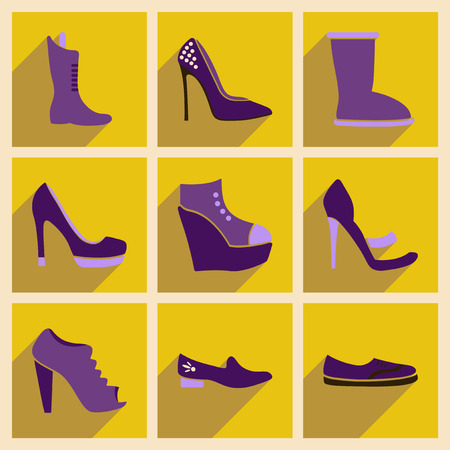 Concept of flat icons with long shadow  footwear