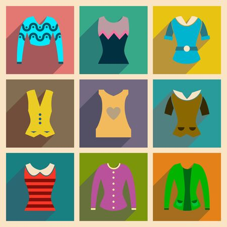 blouses: Concept of flat icons with long shadow  ladies blouses