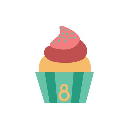 sugary: flat icon on white background  cream cake