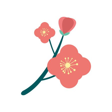 to bloom: flat icon on  white background  branch in bloom