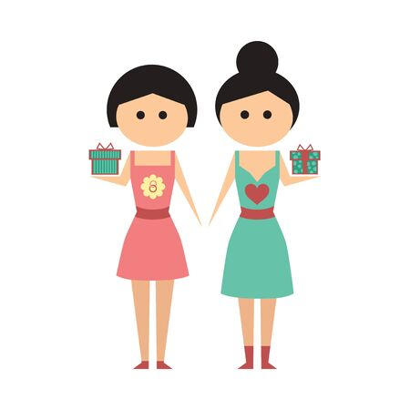 two girls: flat icon on  white background  Two girls gifts