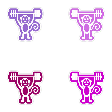weightlifter: Set of paper stickers on white background monkey weightlifter