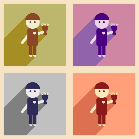 chap: Set of flat web icons with long shadow man bouquet