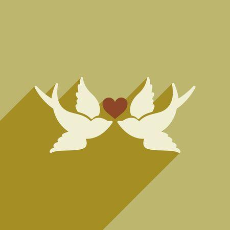 lovebird: Flat web icon with long shadow birds heart Illustration