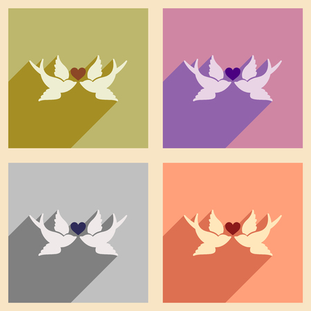 inseparable: Set of flat web icons with long shadow birds heart