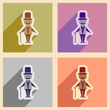 stylish man: Set of flat web icons with long shadow stylish man