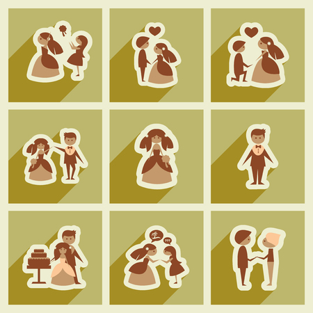 cabrio: Set of flat web icons with long shadow bride and groom Illustration