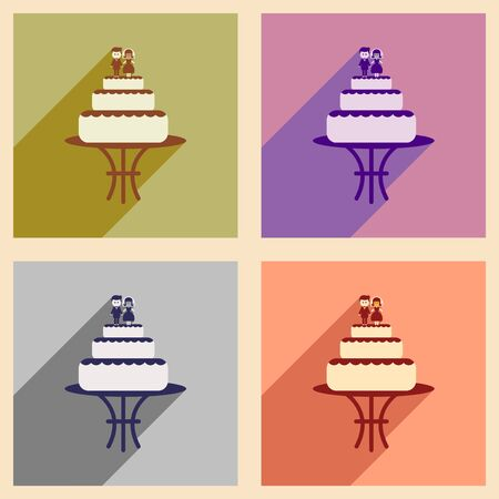 tier: Set of flat web icons with long shadow wedding cake Illustration
