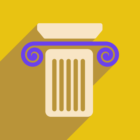 antiquities: Flat web icon with long shadow column Illustration