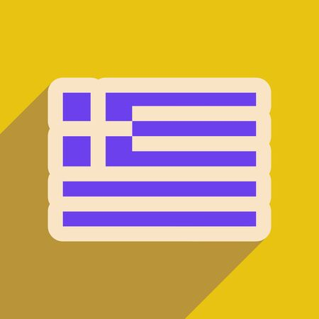 hellenic: Flat web icon with long shadow flag of Greece