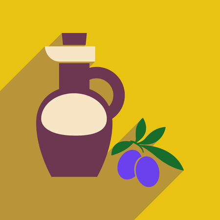 cruet: Flat web icon with long shadow olive oil Illustration