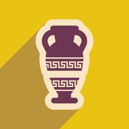 amphora: Flat web icon with long shadow amphora