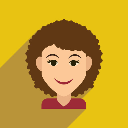 blonde curly hair: Flat web icon with long shadow womens haircut