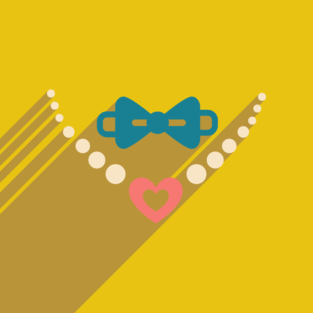 Flat web icon with long shadow necklace and tie  イラスト・ベクター素材