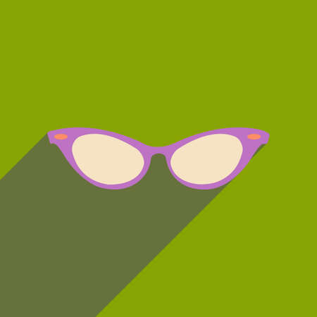 corrective lenses: Flat icon with long shadow glasses accessory