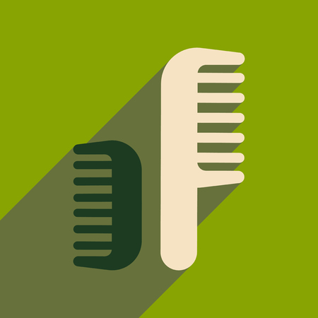 combs: Flat icon with long shadow women combs