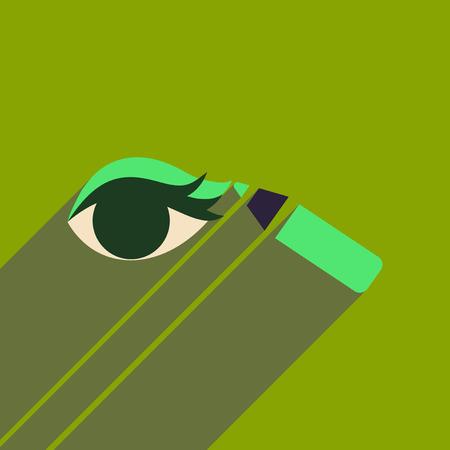 eyeliner: Flat icon with long shadow Eyeliner pencil Illustration