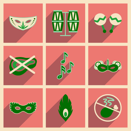 brazilian: Concept of flat icons with long shadow Brazilian Carnival