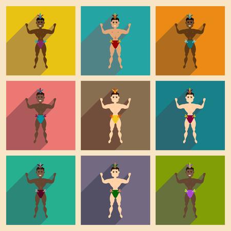 bailarin hombre: Concepto de iconos planos con hombre del bailarín larga sombra