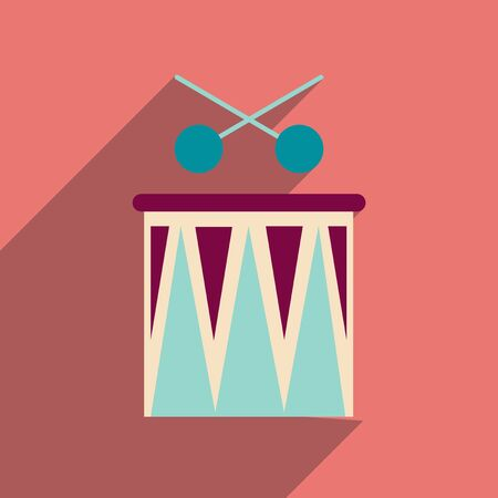 drumming: Flat web icon with long shadow carnival drums